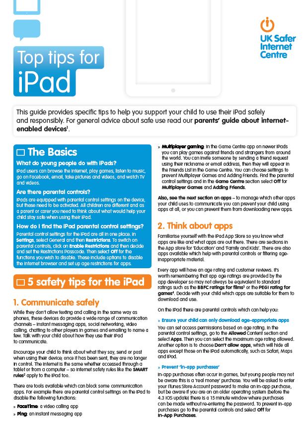 Ipad tips 1 - e-Safety