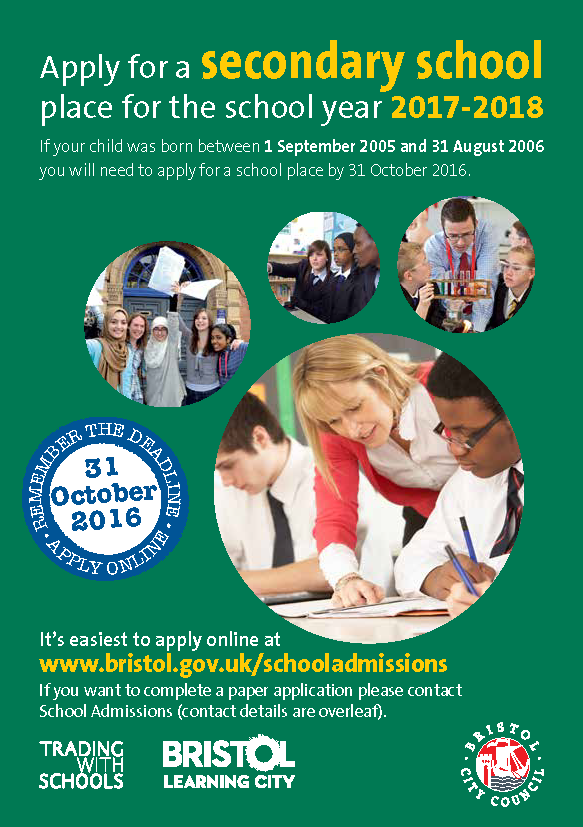 Secondary A5 Flyer 2017 18 Page 1 - Remember to apply for a Secondary School Place before 31st October 2016