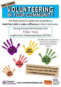 Vol in your com November 2016 poster 211x300 - Free courses in Lockleaze