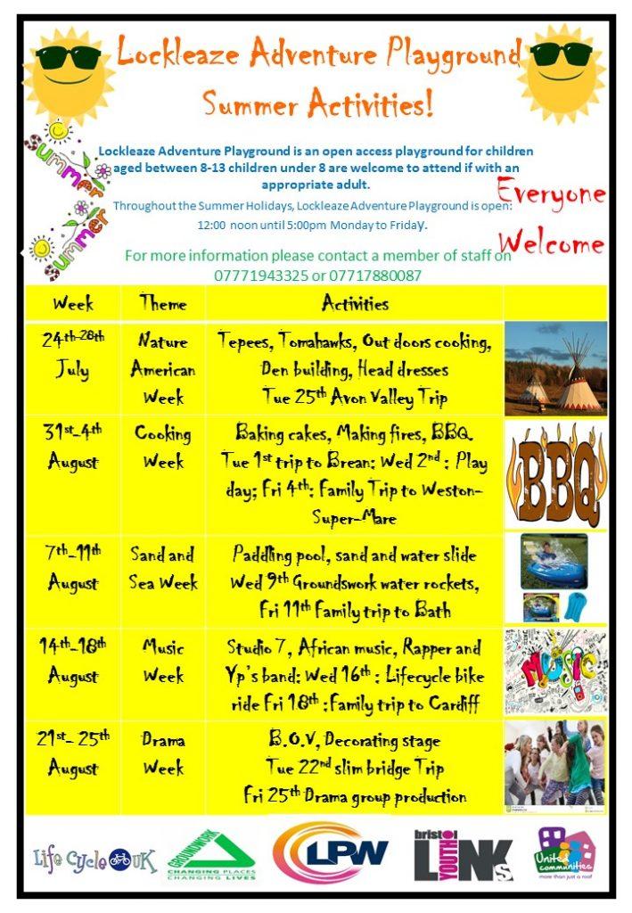 Summer hol poster 709x1024 - Lockleaze Adventure Playground Summer Holiday Activities
