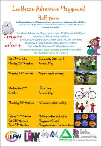 october halfterm1 208x300 - Lockleaze Adventure Playground Half Term Holiday Activities