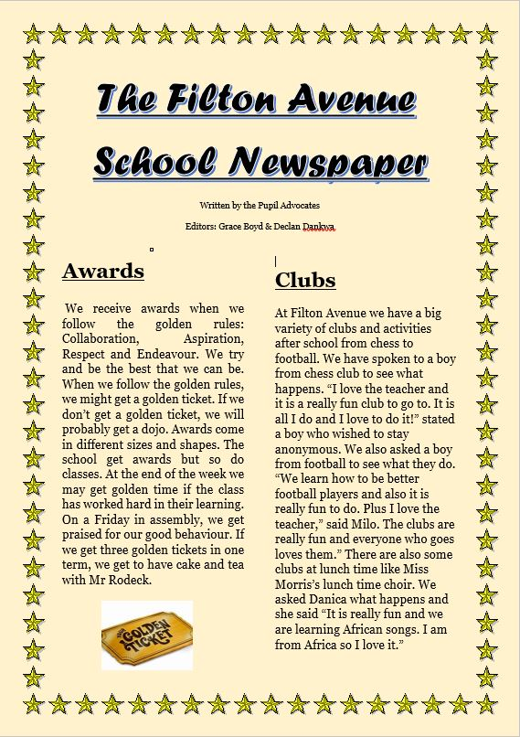 School Newspaper 1 - 'The Filton Avenue School Newpaper' created by Year 5 & 6 Pupil Advocates