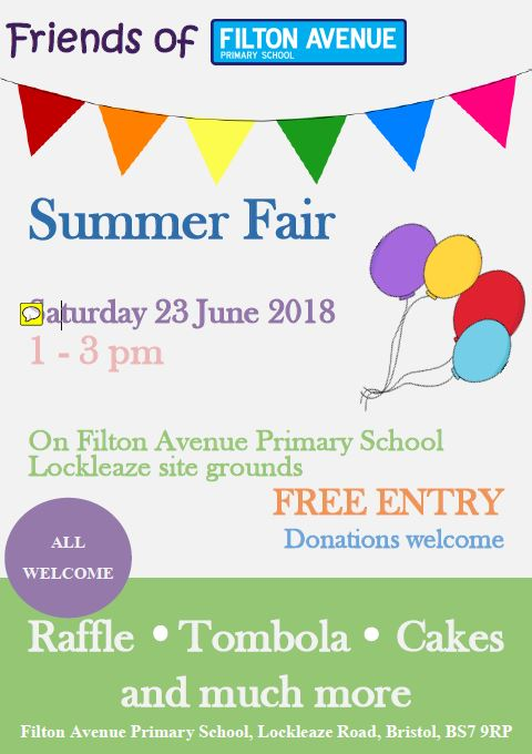 Summer Fair 2018 v2 - FFA Summer Fair on Saturday 23rd June 1pm - 3pm