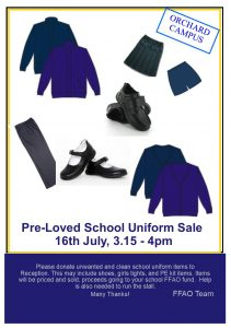 "FFAO school uniform sale 2018 211x300 - Orchard Campus ""Pre-loved"" Uniform Sale on Monday 16th July"